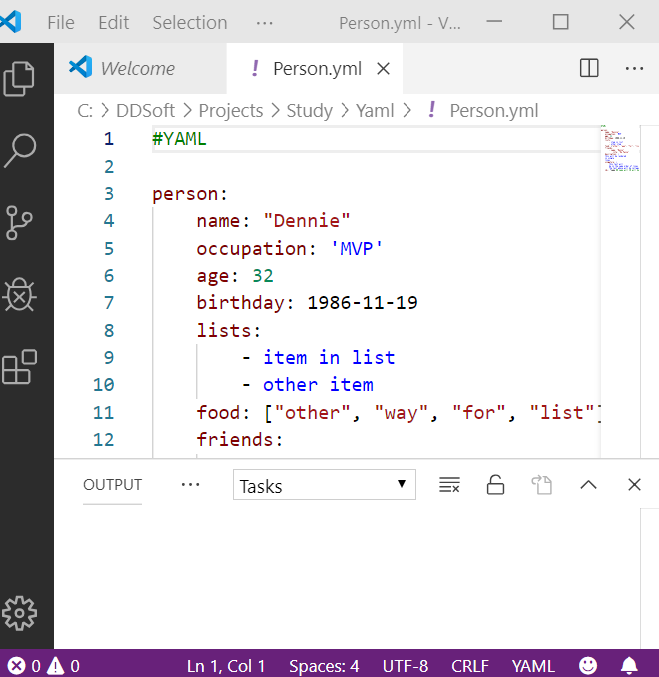 Visual Studio Code with an open YAML File. Visual Studio Code has the light color scheme in this picture.