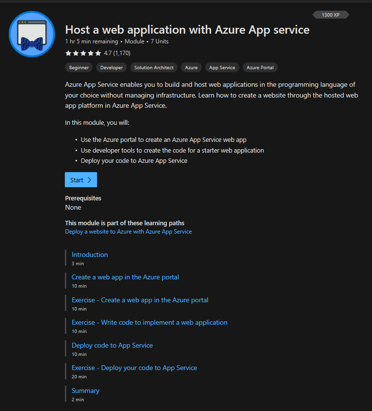 Microsoft Learn with the course Hosting a web application with Azure App service. Microsoft Learn has the dark color scheme in this image.