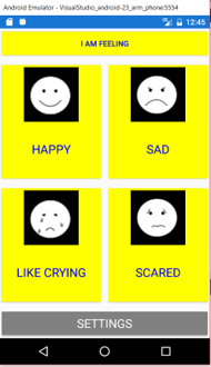 Image of an application to communicate about emotions. The app don't have a name right now and is not published. It's a proof of concept.